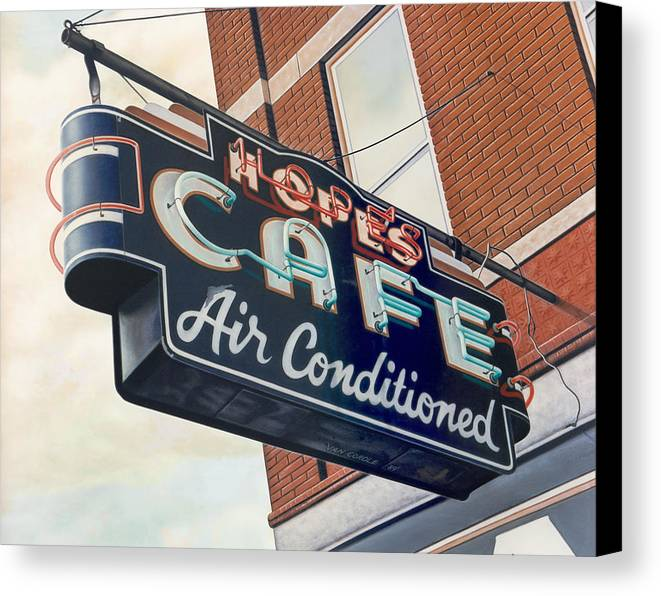 Cityscape Canvas Print featuring the painting Hope's Cafe by Van Cordle
