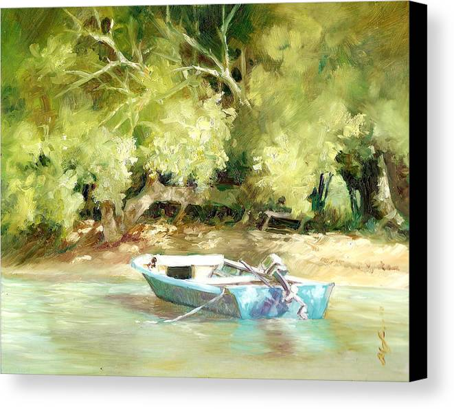 Boats Canvas Print featuring the painting Island Ferry by Monica Linville