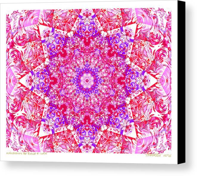 Kaleidoscope; Mandala; Valentine Colors; Red Canvas Print featuring the digital art Kaleido Red Rubi 8 by Terry Anderson