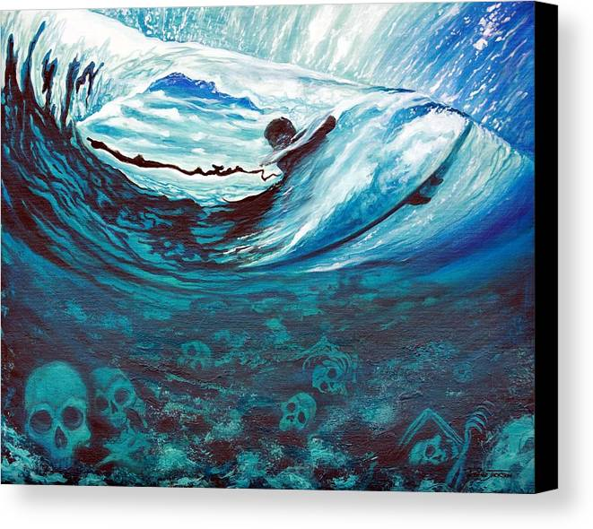 Surf Canvas Print featuring the painting Live Free Or Die by Ronnie Jackson