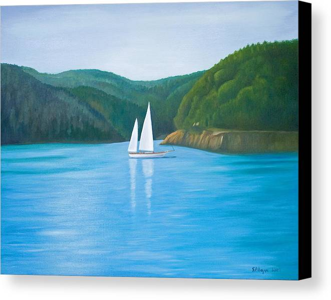 Seascape Canvas Print featuring the painting Mason's Sailboat by Stephen Degan