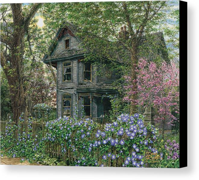 Old House Canvas Print featuring the painting Morning Glory by Doug Kreuger