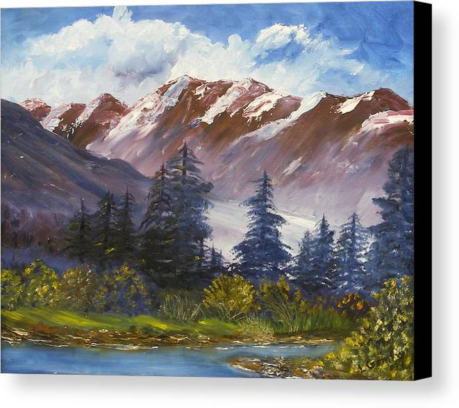 Oil Painting Canvas Print featuring the painting Mountains I by Lessandra Grimley