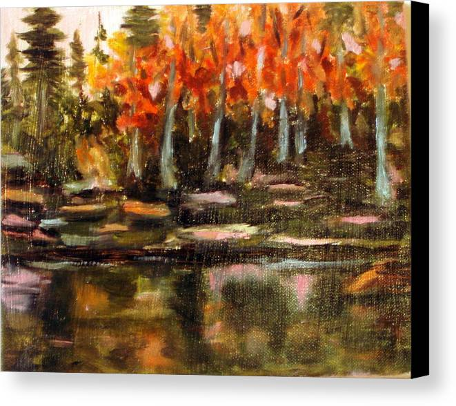 Fall Canvas Print featuring the painting Pond 1 by Lia Marsman
