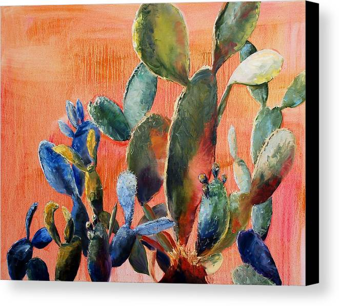 Cactus Canvas Print featuring the painting Prickly Pear by Lynee Sapere