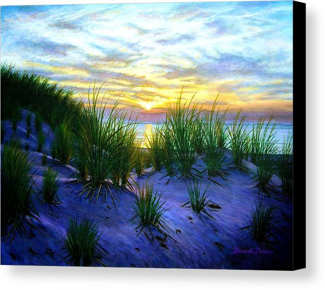 Seascape Canvas Print featuring the painting Race Point Dune Sunset by Bruce Dumas