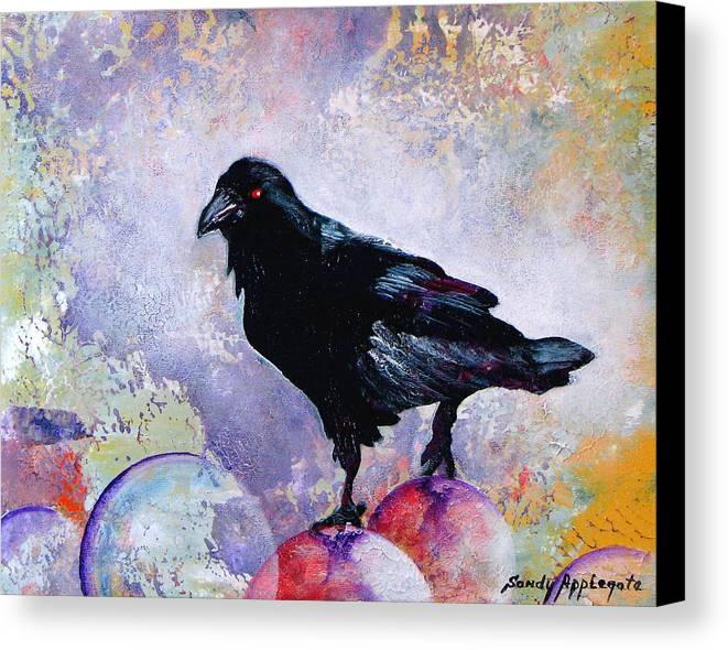 Raven Canvas Print featuring the painting The Stillness Gave No Token by Sandy Applegate