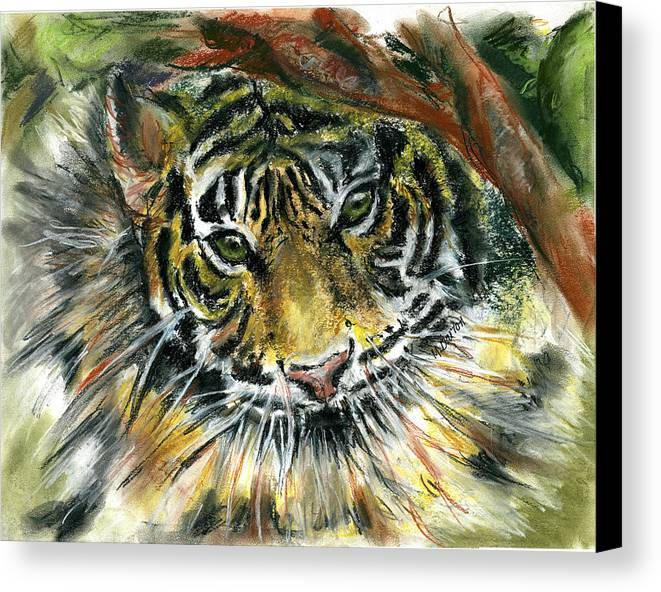 Tiger Canvas Print featuring the painting Tiger by Marilyn Barton