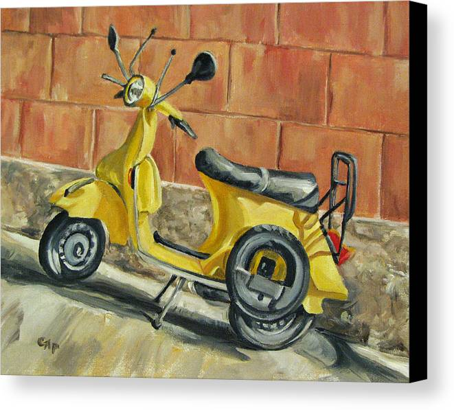 Vespa Canvas Print featuring the painting Vespa 1 by Cheryl Pass