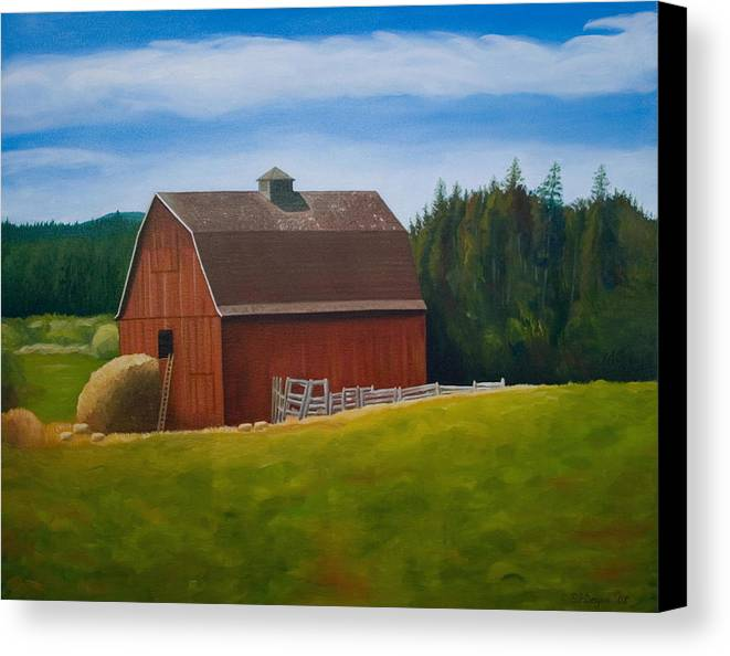 Landscape Canvas Print featuring the painting Whidbey Island Barn by Stephen Degan