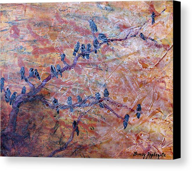 Raven Canvas Print featuring the painting While I Nodded by Sandy Applegate