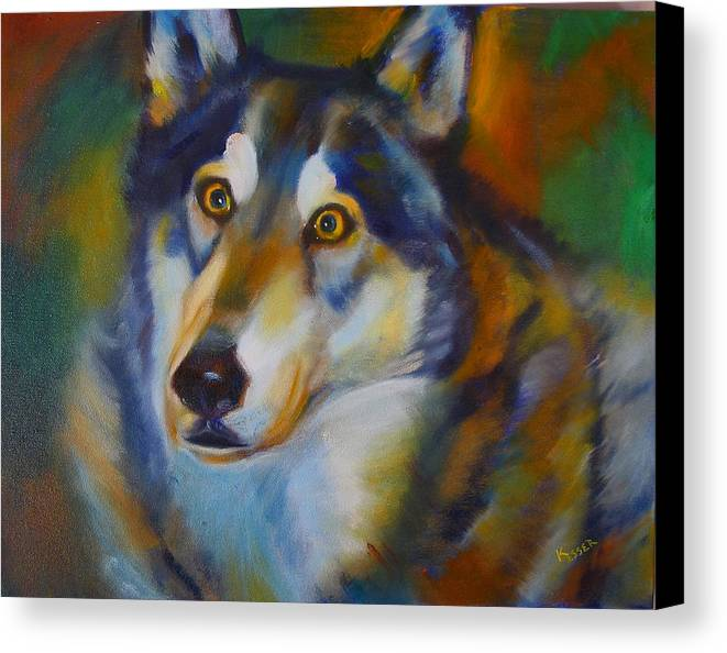 Animal Painting Canvas Print featuring the painting Wolf Spirit by Kaytee Esser