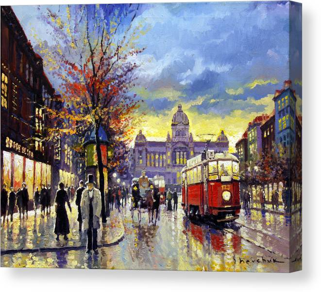 Oil On Canvas Canvas Print featuring the painting Prague Vaclav Square Old Tram Imitation By Cortez by Yuriy Shevchuk