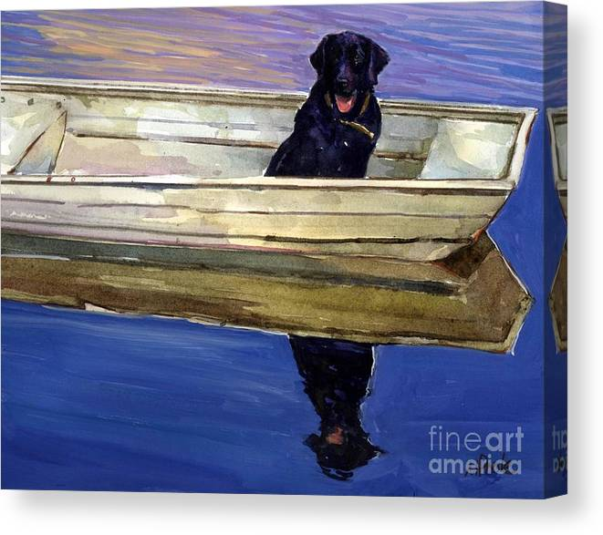 Black Lab Canvas Print featuring the painting Slow Boat by Molly Poole