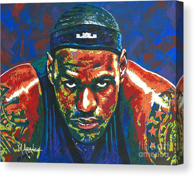Lebron Canvas Print featuring the painting The Lebron Death Stare by Maria Arango