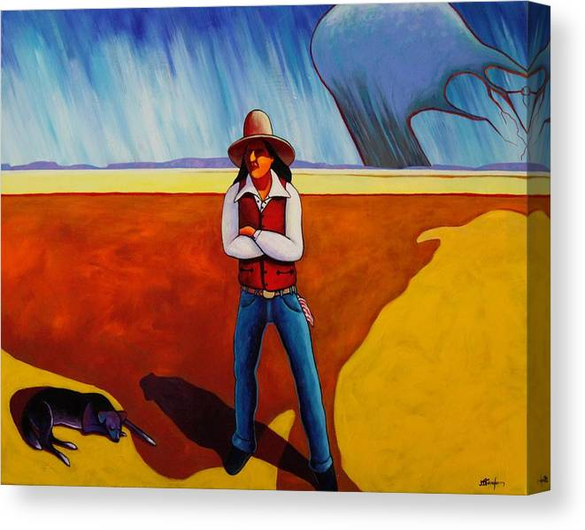 Native American Canvas Print featuring the painting The Logic Of Solitude by Joe Triano