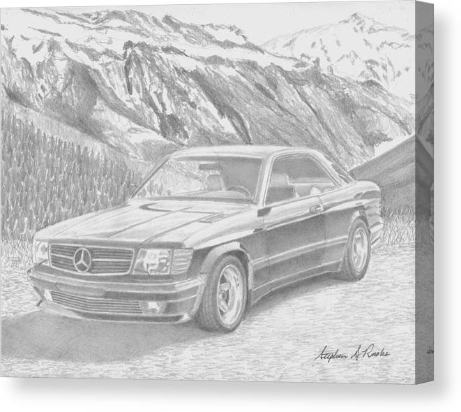 Rooks10904 Drawings Canvas Print featuring the drawing 1984 Mercedes Benz 560 Sec Amg Classic Car Drawing by Stephen Rooks