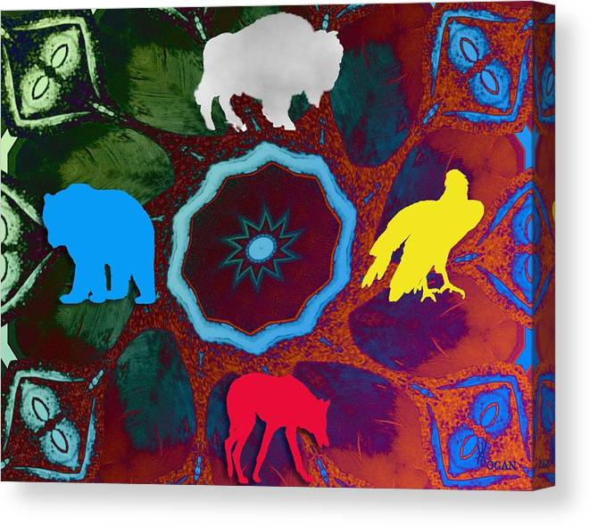 Wildlife Canvas Print featuring the digital art Four Directions  -009 by Will Logan