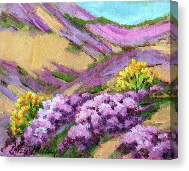 Palm Desert Canvas Print featuring the painting Palm Desert Spring by Diane McClary