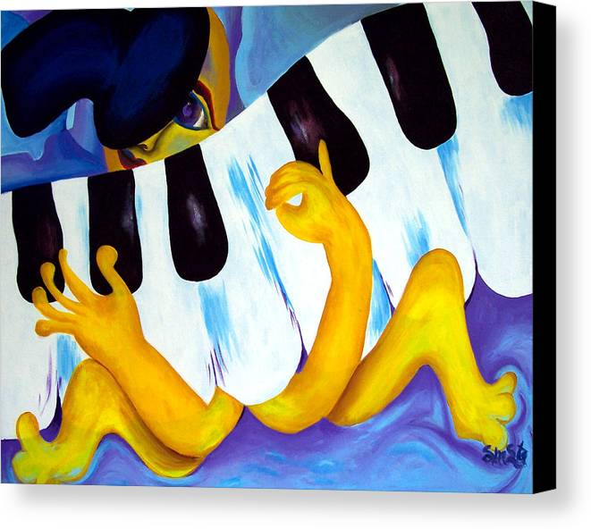 Vivid Contemporary Abstract Canvas Print featuring the painting Piano Man by Shasta Miller