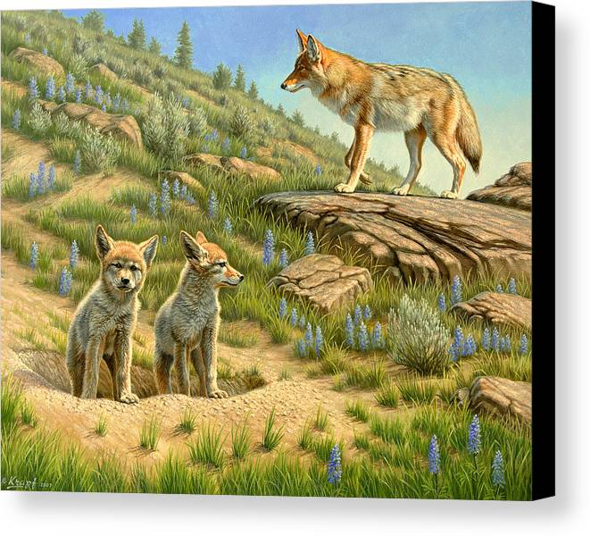 Wildlife Canvas Print featuring the painting Babysitter - Coyotes by Paul Krapf
