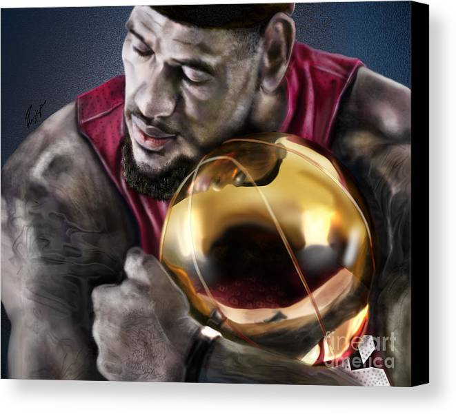 Lebron James Canvas Print featuring the painting Lebron James - My Way by Reggie Duffie