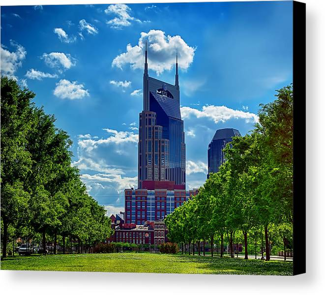 At&t Building Nashville Canvas Print featuring the photograph Nashville Batman Building Landscape by Dan Holland