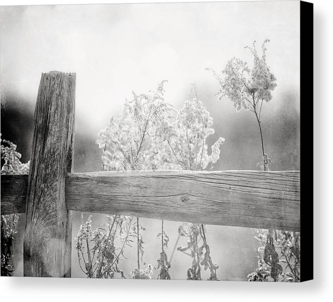 Black And White Canvas Print featuring the photograph The Country Fence In Black And White by Lisa Russo