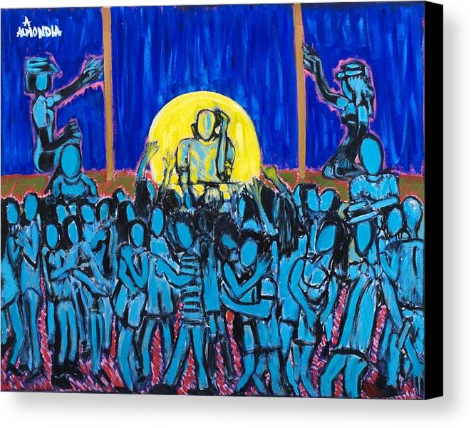 Dancing Canvas Print featuring the painting Rhythm Blue by Albert Almondia