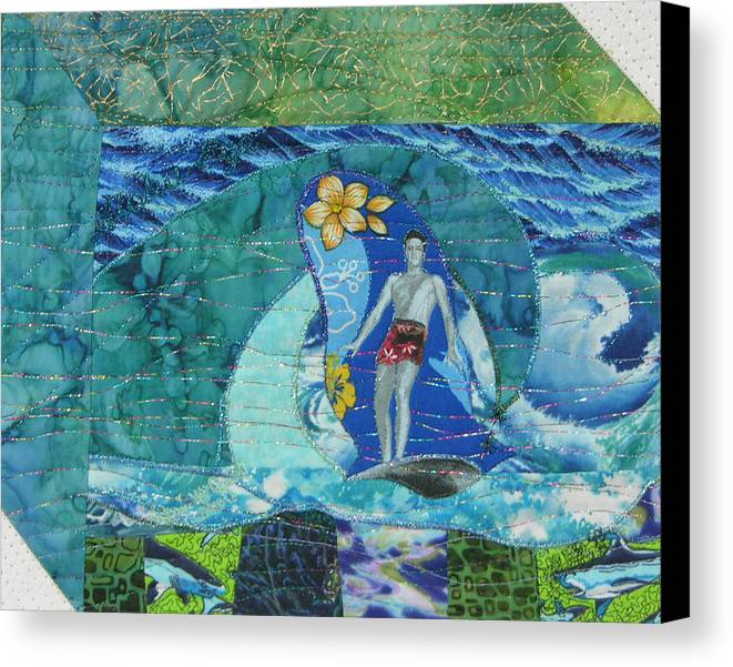 Surfing Canvas Print featuring the mixed media Aloha Eye by Salli McQuaid