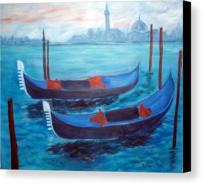 Venice Canvas Print featuring the painting Dancing Gondolas by Lia Marsman