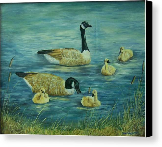 A Pair Of Mallards Canvas Print featuring the painting First Lesson by Wanda Dansereau