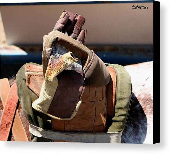Rodeo Canvas Print featuring the photograph Glove And Riggin.. by Carol Miller
