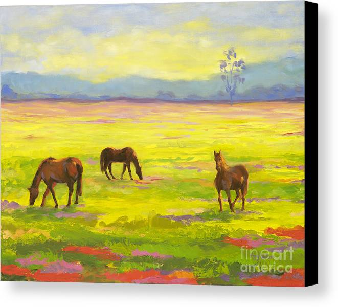 Landscape Canvas Print featuring the painting Good Morning Horses by Amy Welborn