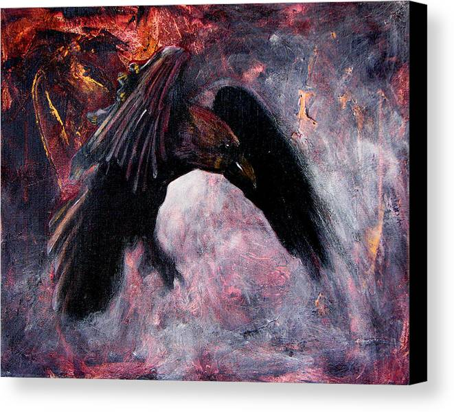 Raven Canvas Print featuring the painting Grave And Stern Decorum by Sandy Applegate