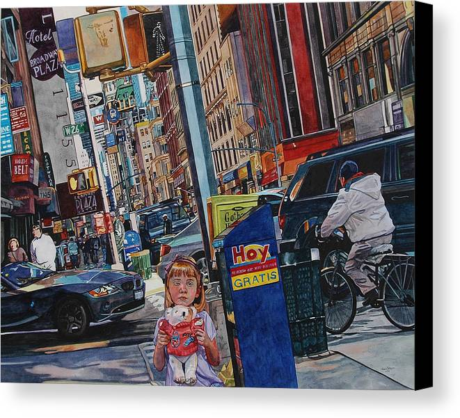 City Canvas Print featuring the painting Lost by Valerie Patterson