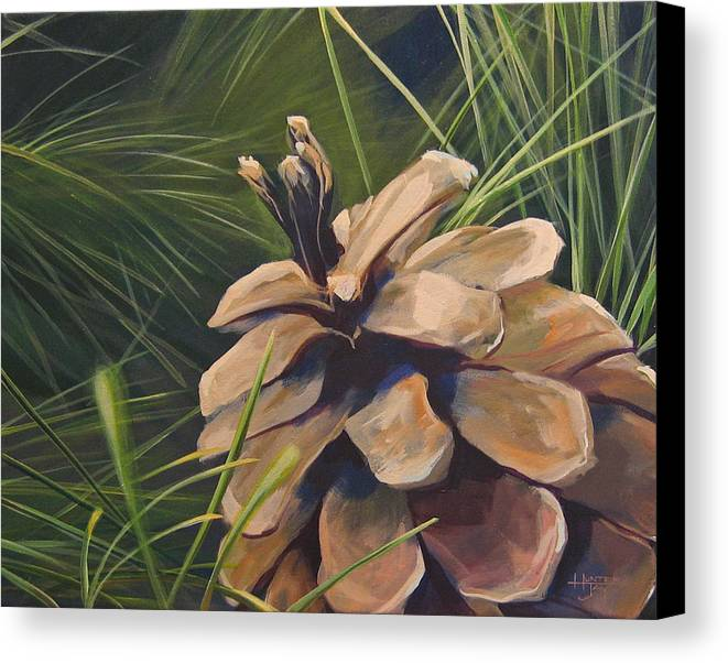 Pinecone Closeup Canvas Print featuring the painting Mountain Echoes by Hunter Jay