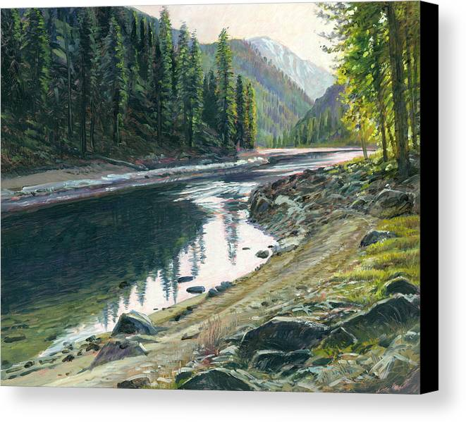 River Canvas Print featuring the painting Near Horse Creek by Steve Spencer