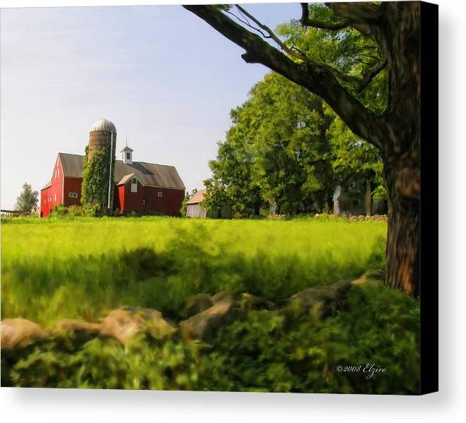 Farm Canvas Print featuring the painting Old New England Farm by Elzire S
