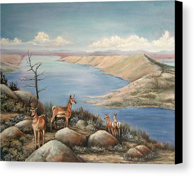 Antelope Overlook Wyoming Landscape Canvas Print featuring the painting Overlook by Cynara Shelton