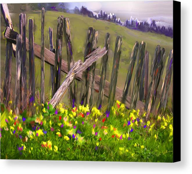 Fence Canvas Print featuring the digital art Painted Fence by Vicki Tomatis