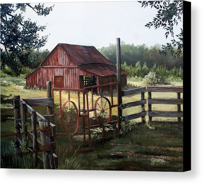 Barn Canvas Print featuring the painting Red Barn At Sunrise by Cynara Shelton