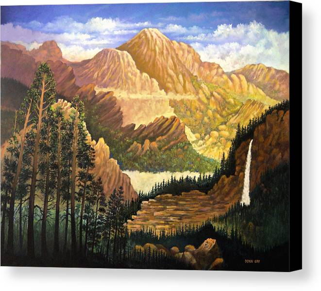 Mountains Colorado New Mexico Arizona Waterfall Sunrise Southwest Landscape Giclee Prints Canvas Print featuring the painting Rocky Mountain Sunrise by Donn Kay