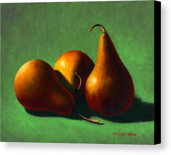 Still Life Canvas Print featuring the painting Three Yellow Pears by Frank Wilson