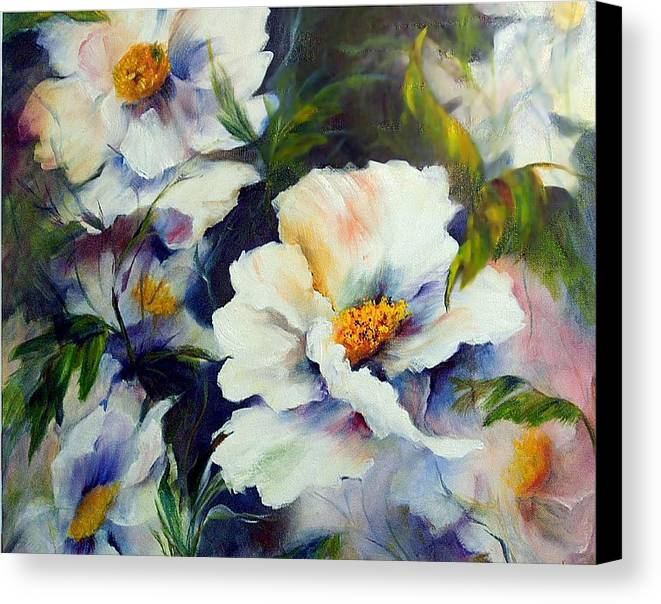 Oil Canvas Print featuring the painting White Beauties by Elaine Bailey