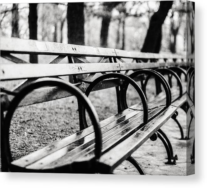 Black And White Central Park Bench In New York City Canvas Print