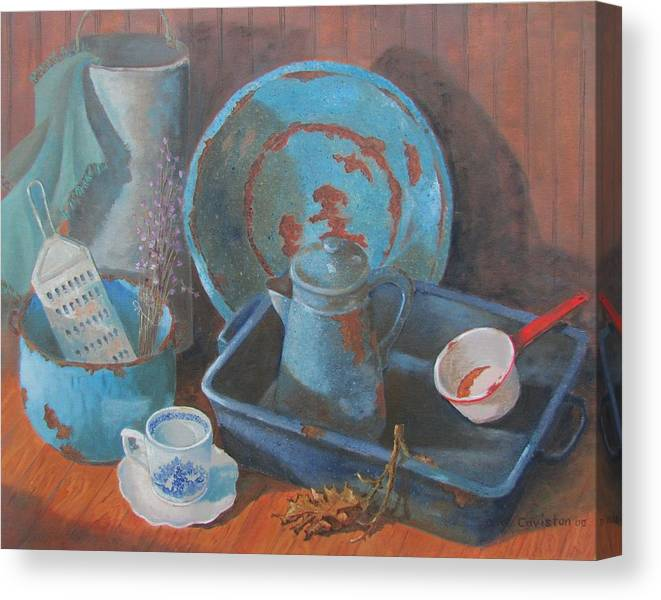 Kitchen Scene Canvas Print featuring the painting Blue Period by Tony Caviston