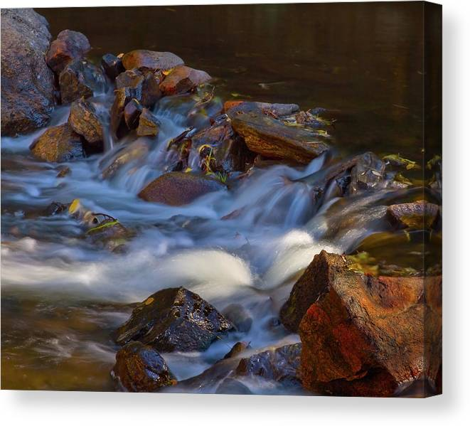 Autumn Canvas Print featuring the photograph Bear Creek Waterfalls by Crystal Garner