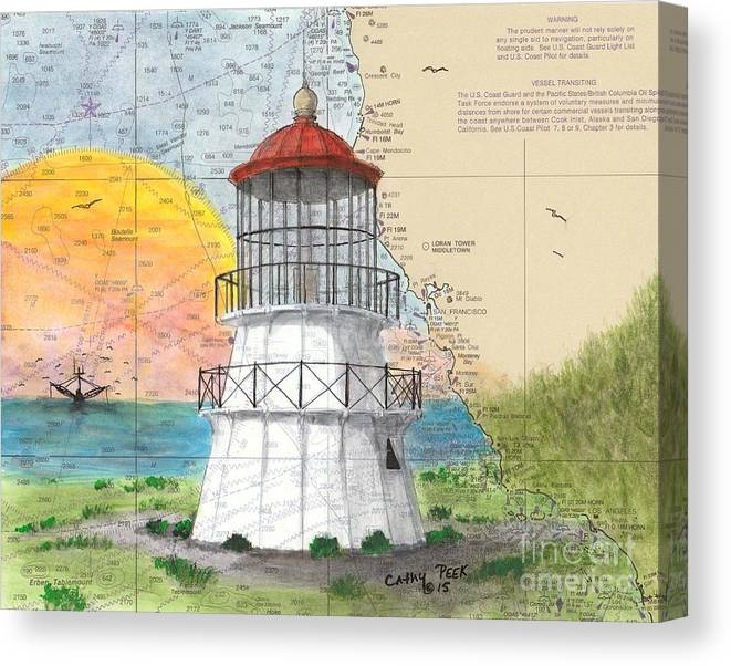 Cape Canvas Print featuring the painting Cape Mendocino Lighthouse Ca Nautical Chart Map by Cathy Peek