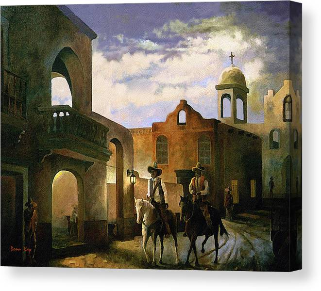 Texas New Mexico Cowboy Southwest 1800 Canvas Print featuring the painting Dos Amigos by Donn Kay